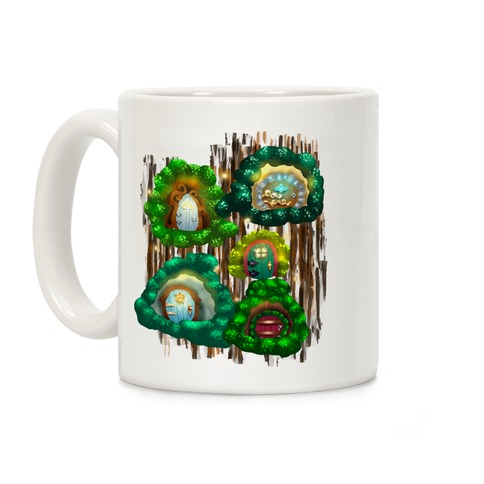 Fairy Cottage Doors Pattern Coffee Mug