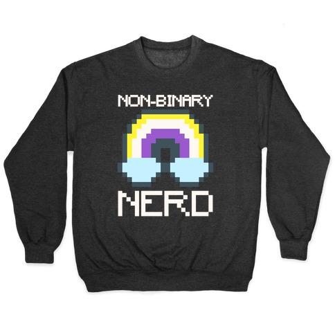 Non-Binary Nerd White Print Pullover