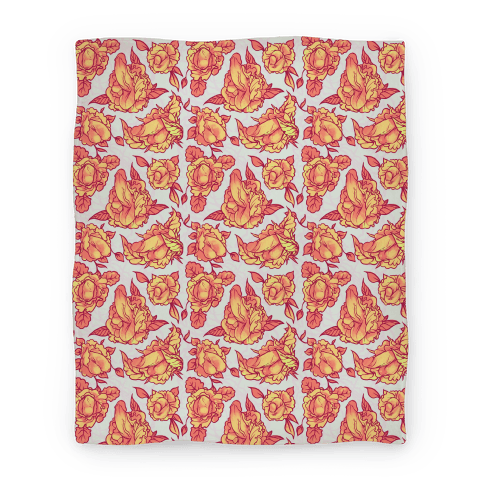 Floral Penis Pattern Orange Blanket