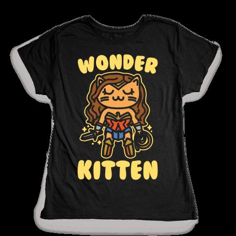 Wonder Kitten Parody White Print Womens T-Shirt