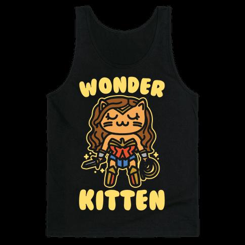 Wonder Kitten Parody White Print Tank Top