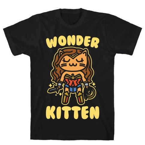 Wonder Kitten Parody White Print T-Shirt