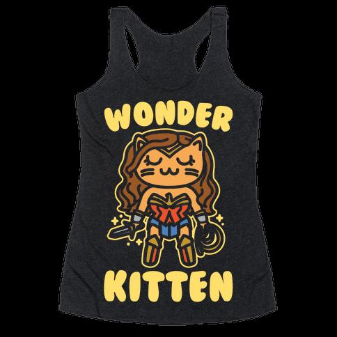 Wonder Kitten Parody White Print Racerback Tank Top