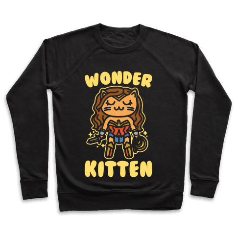 Wonder Kitten Parody White Print Pullover