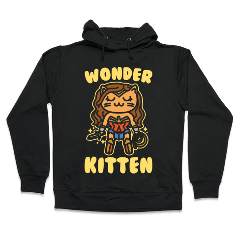 Wonder Kitten Parody White Print Hooded Sweatshirt