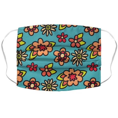 70's Flower Pattern Accordion Face Mask