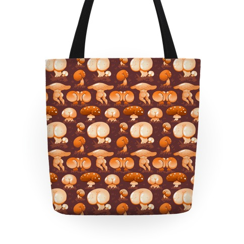 Butt Mushroom Pattern Orange Tote
