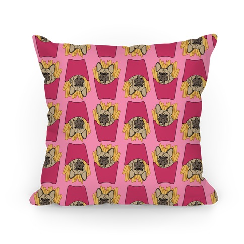 French Fry French Bulldog Pattern Pillow