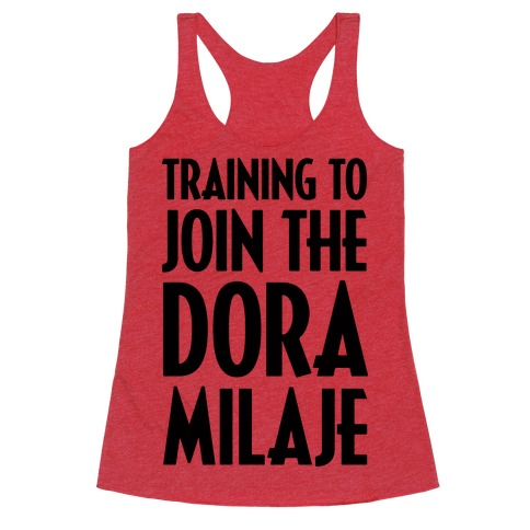 Training To Join The Dora Milaje Racerback Tank Top