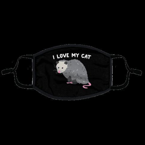 I Love My Cat Opossum Flat Face Mask
