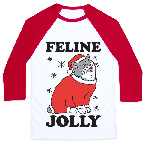 Feline Jolly Cat Baseball Tee