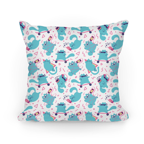 90's Cats Pattern Pillow