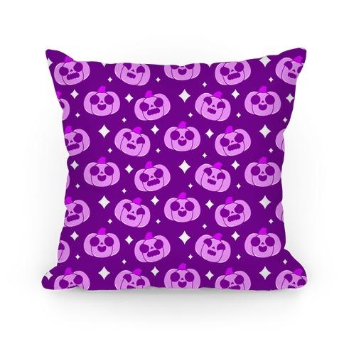 Kawaii Pumpkins Pattern Purple Pillow