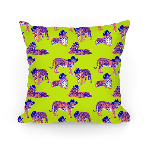 Tigers in Cowboy Hat Neon Pattern Pillow