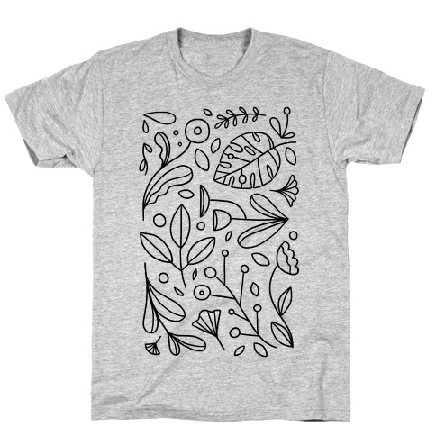 Black and White Plant Pattern T-Shirt