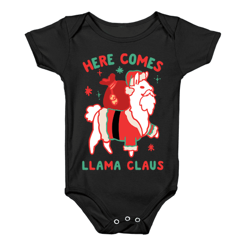 Here Comes Llama Claus Baby Onesy
