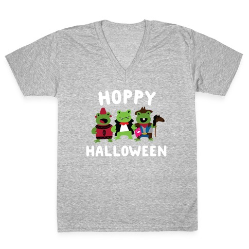 Hoppy Halloween Frogs V-Neck Tee Shirt