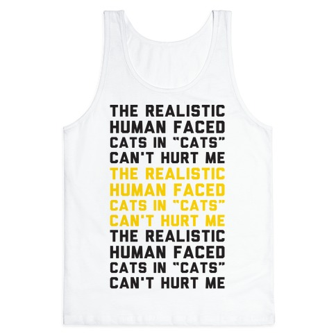 The Realistic Human Faced Cats In Cats Can't Hurt Me Parody Tank Top