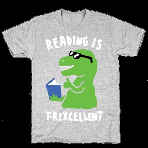 Reading Is T-Rexcellent Dinosaur Mens T-Shirt