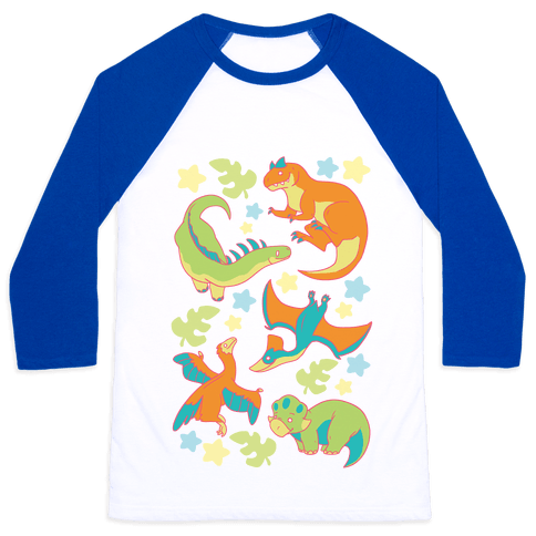 Funky Dinosaur Friends Pattern Baseball Tee