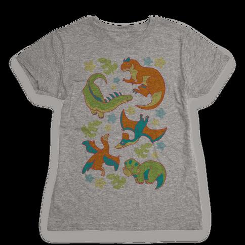 Funky Dinosaur Friends Pattern Womens T-Shirt