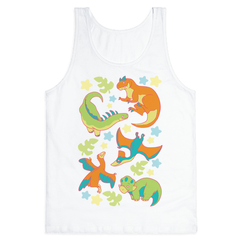 Funky Dinosaur Friends Pattern Tank Top