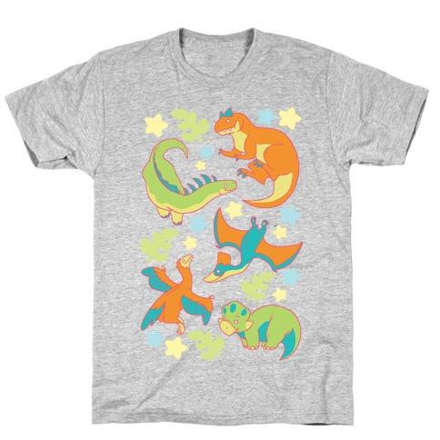 Funky Dinosaur Friends Pattern T-Shirt