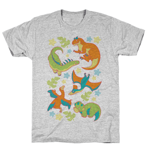 Funky Dinosaur Friends Pattern Mens T-Shirt