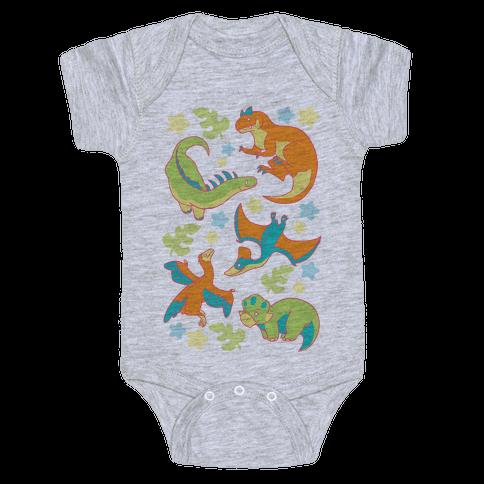 Funky Dinosaur Friends Pattern Baby Onesy