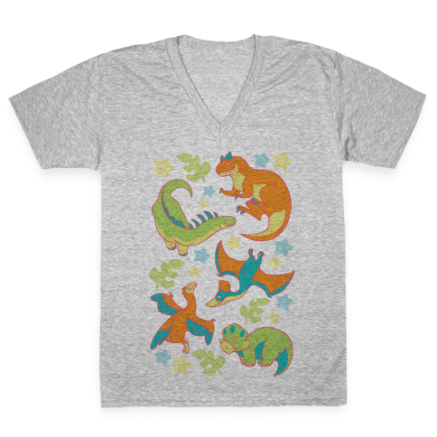 Funky Dinosaur Friends Pattern V-Neck Tee Shirt