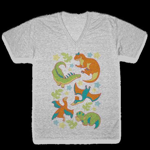Funky Dinosaur Friends Pattern V-Neck Tee Shirt