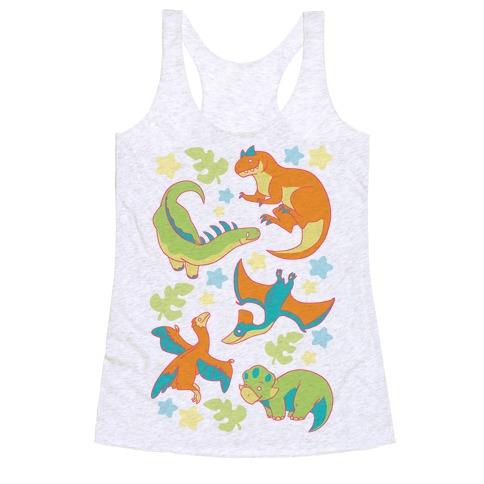 Funky Dinosaur Friends Pattern Racerback Tank Top