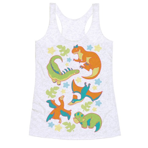 Funky Dinosaur Friends Pattern Racerback Tank Top