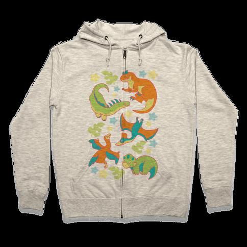 Funky Dinosaur Friends Pattern Zip Hoodie