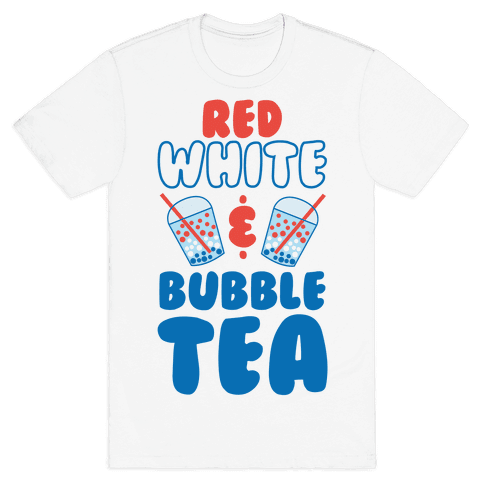 Red, White and Bubble Tea Mens T-Shirt