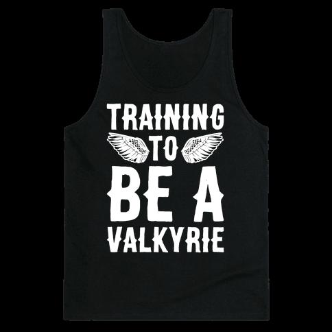 Training To Be A Valkyrie Parody White Print Tank Top