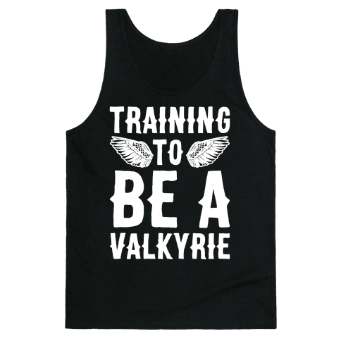 Training To Be A Valkyrie Parody White Print Tank Top