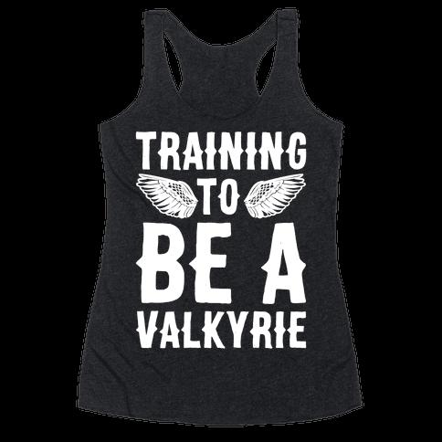 Training To Be A Valkyrie Parody White Print Racerback Tank Top