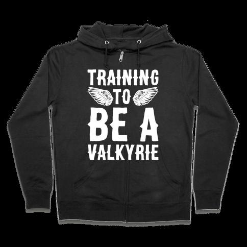 Training To Be A Valkyrie Parody White Print Zip Hoodie
