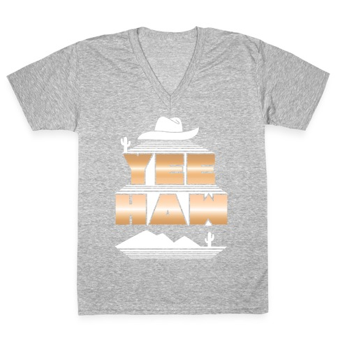 Retro 80s Yee Haw V-Neck Tee Shirt