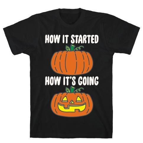 How It Started Jack O Lantern' Parody White Print T-Shirt