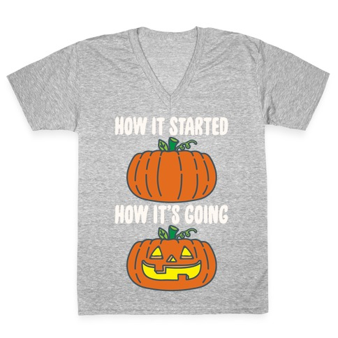 How It Started Jack O Lantern' Parody White Print V-Neck Tee Shirt