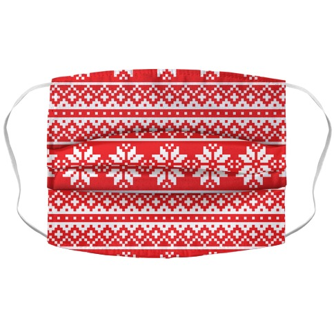 Christmas Sweater Pattern Accordion Face Mask