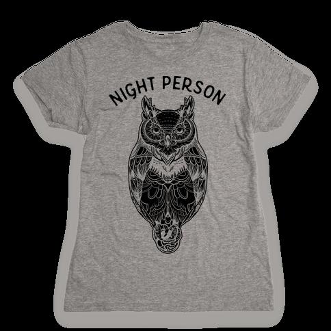 Night Person Owl Womens T-Shirt