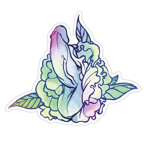 Floral Penis Pattern Blue Die Cut Sticker