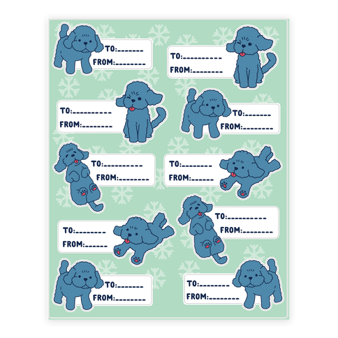 Yuri Poodle Gift Tags Sticker and Decal Sheet