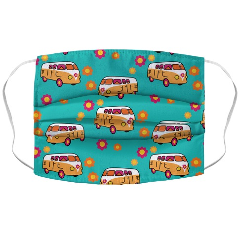 Retro Flower Bus Pattern Accordion Face Mask