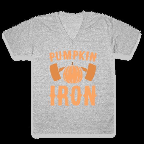 Pumpkin Iron V-Neck Tee Shirt
