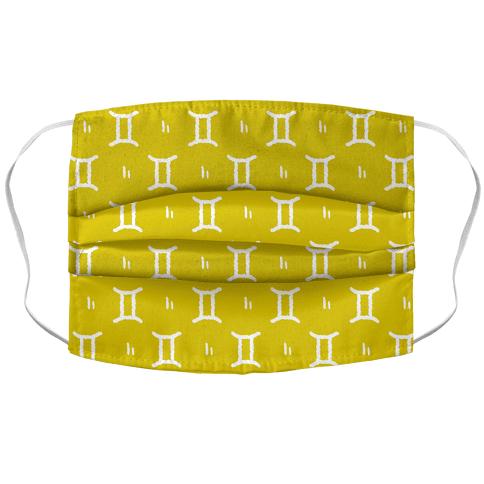 Gemini Symbol Pattern Yellow Face Mask