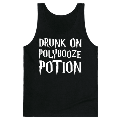 Drunk On Polybooze Potion Parody White Print Tank Top